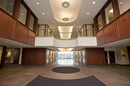 Lobby entrance in mahogany to a modern office building