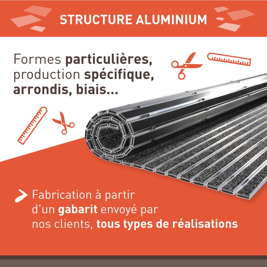 tapis d'entrée structure sur aluminium